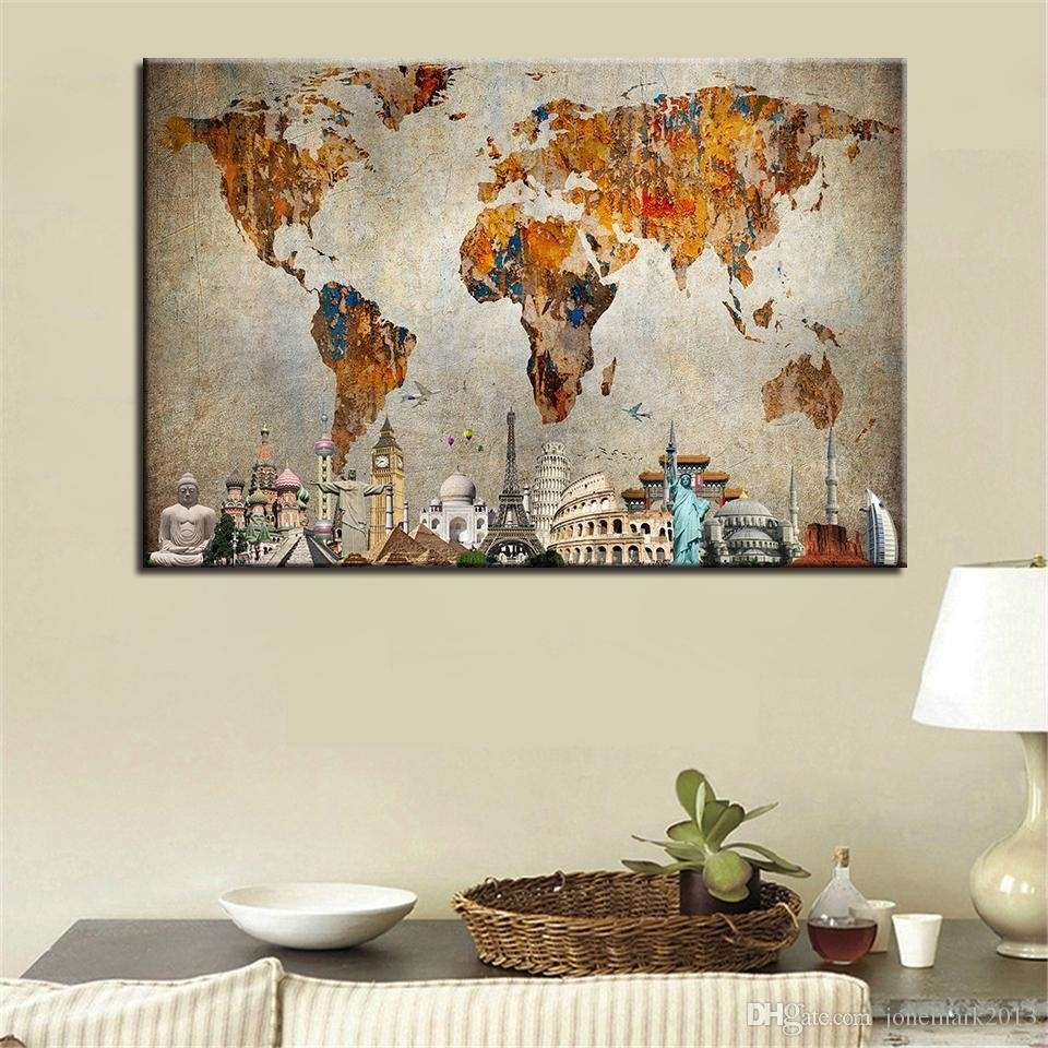 2018 Wall Art Canvas Hd Prints Painting Framework /pcs Vintage World For World Map Wall Art Canvas (View 16 of 20)