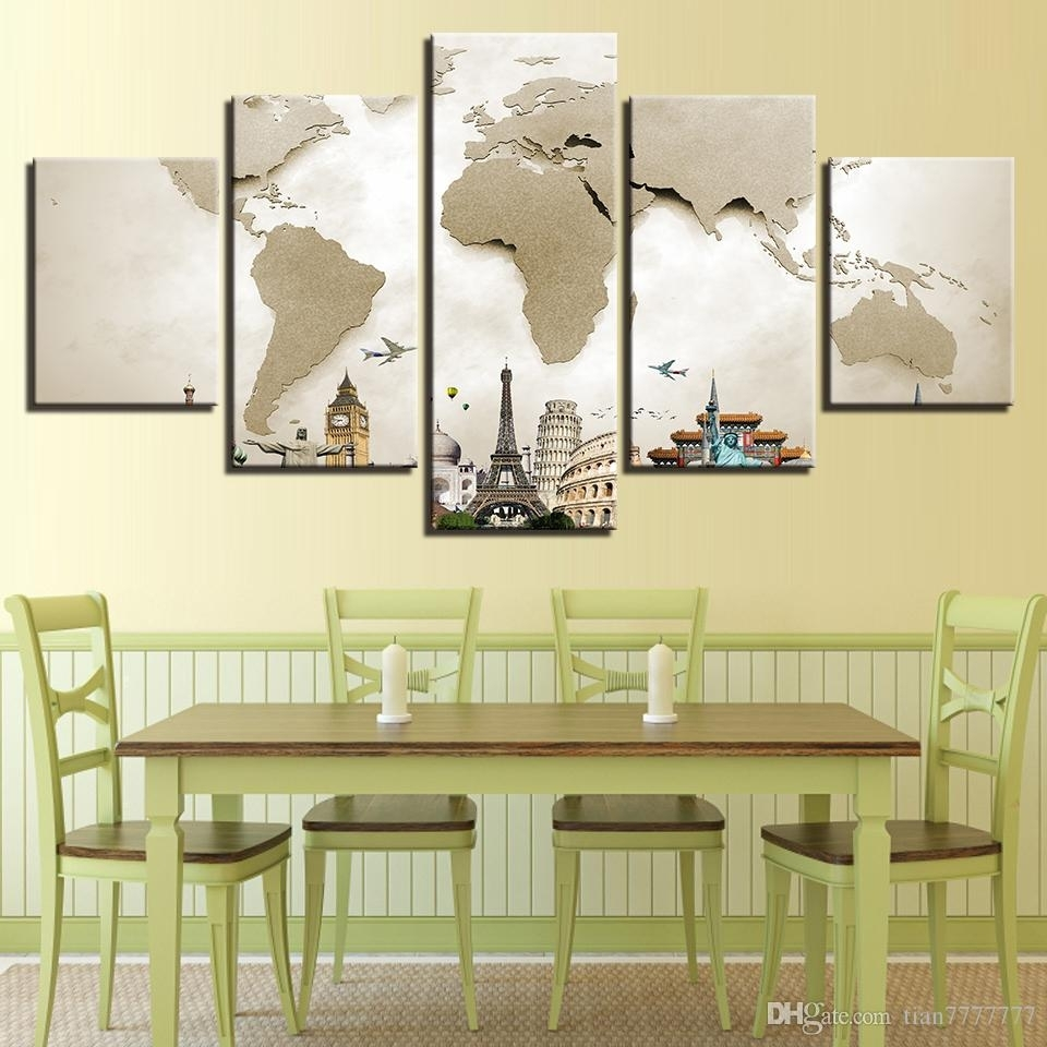2018 Wall Art Canvas Painting 5 Panel No Frame Abstract World Map for Modern Framed Wall Art Canvas (Image 1 of 20)