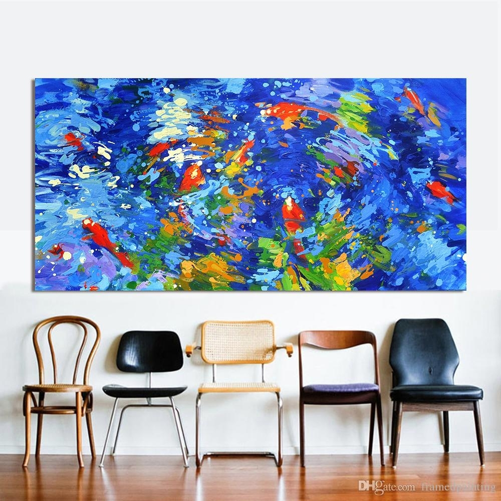 2018 Wall Art Painting Canvas Picture Swim Fish Team Abstract Print Inside Fish Painting Wall Art (Photo 6 of 20)