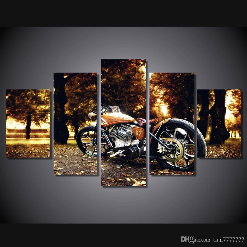2018 Wall Art Racing Motorcycle Painting Canvas Print Poster Picture inside Motorcycle Wall Art (Image 1 of 20)