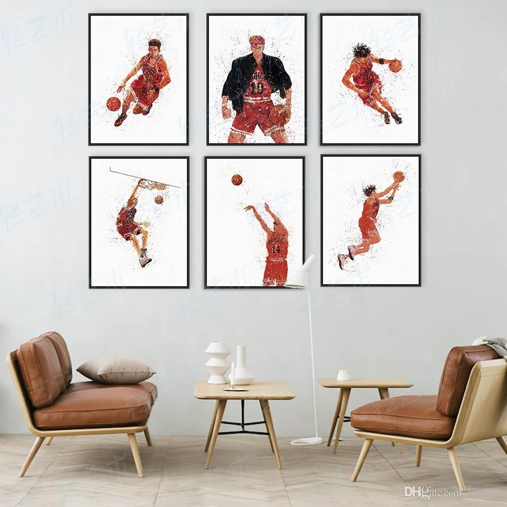 2018 Watercolor Slam Dunk Japanese Animation Basketball Poster Boy Within Basketball Wall Art (Gallery 2 of 20)