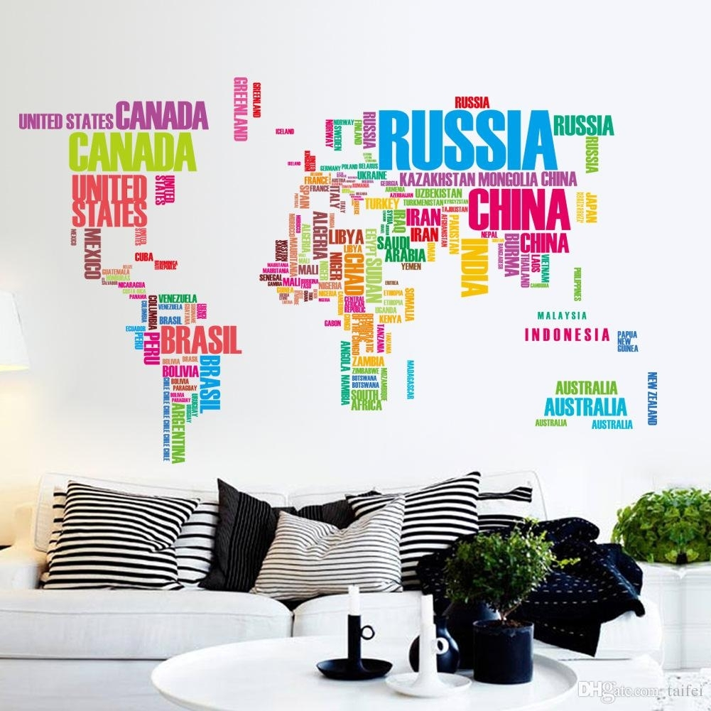 2018 World Map Wall Stickers Home Decor For Children's Bedroom 3D Pertaining To World Map Wall Art For Kids (Gallery 7 of 20)