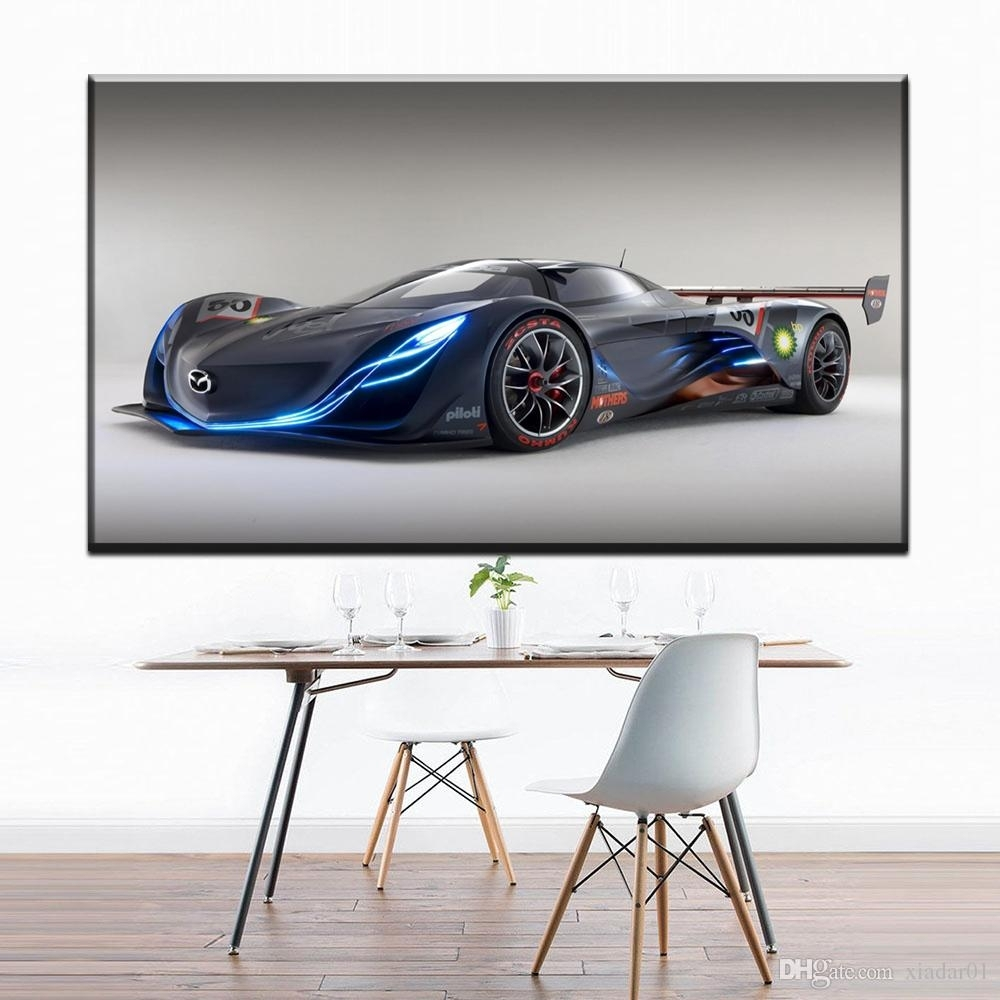 2018 Zz1301 Simple Abstract Canvas Art Blue Sports Car Canvas Wall For Car Canvas Wall Art (Gallery 11 of 20)