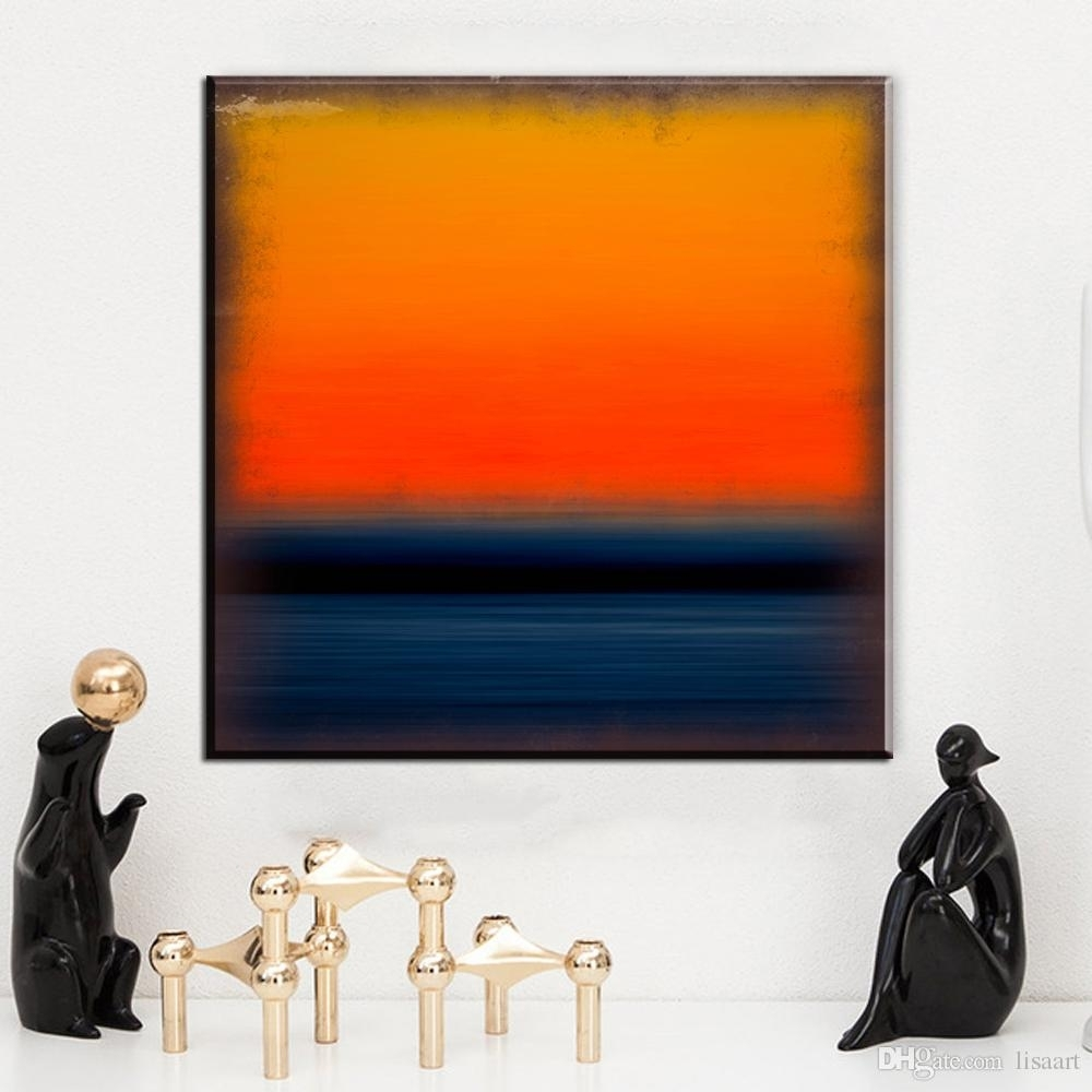 2018 Zz171 Abstract Canvas Art Mark Rothko Orange Blue Canvas With Regard To Orange Wall Art (View 19 of 20)