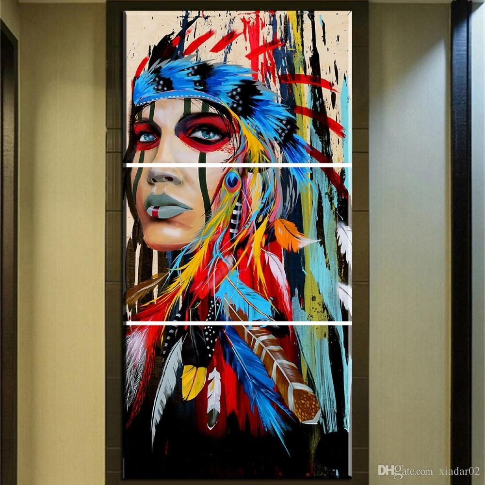 2018 Zz678 Beauty Art Canvas Painting Native American Indian Girl Within Native American Wall Art (Gallery 2 of 20)
