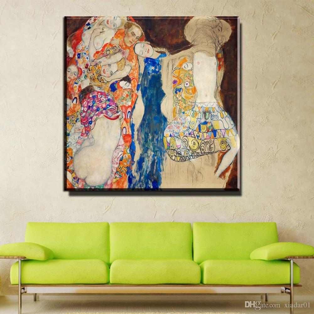 2018 Zz754 Home Decorative Canvas Wall Art Huge Gustav Klimt Giclee intended for Cheap Oversized Canvas Wall Art (Image 3 of 20)