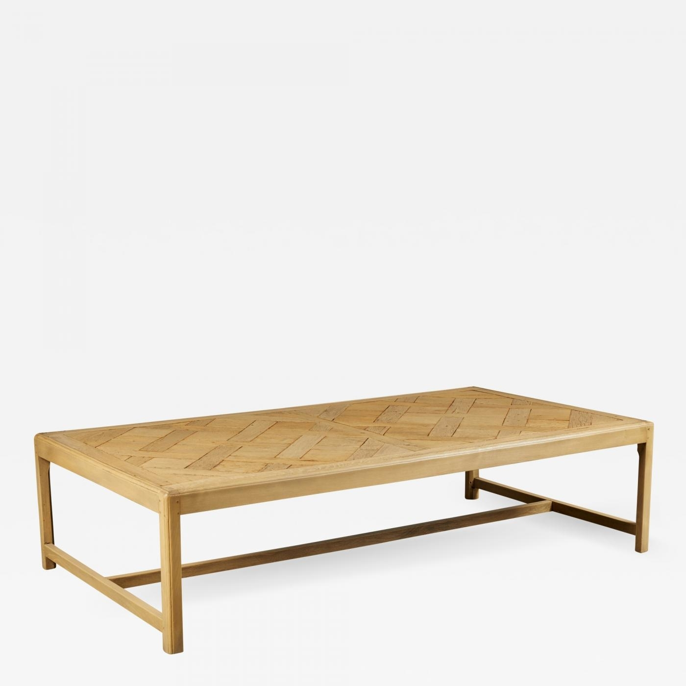 20Th C. French Parquet Bleached Oak Coffee Table pertaining to Parquet Coffee Tables (Image 1 of 30)