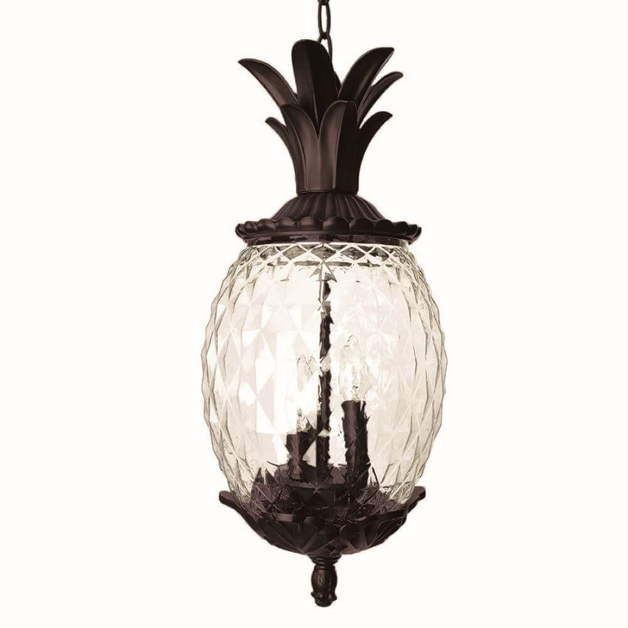21 Inch Tall Dark Bronze Pineapple Outdoor Hanging Lantern Light throughout Outdoor Pineapple Lanterns (Image 2 of 20)