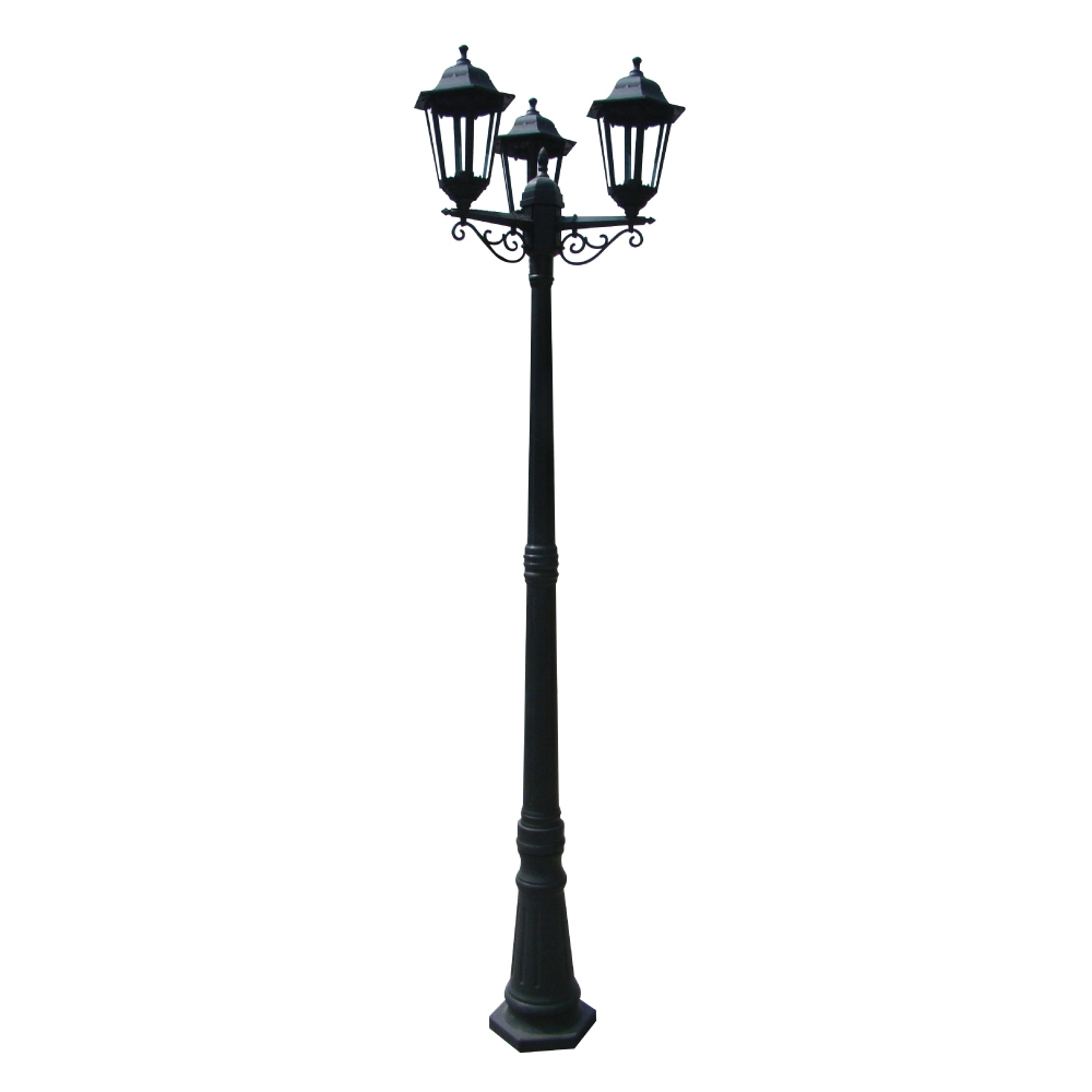 230V Exterior Plastic 3 Light Pole Lantern E27 Ip54 | Eurotech throughout Outdoor Pole Lanterns (Image 1 of 20)