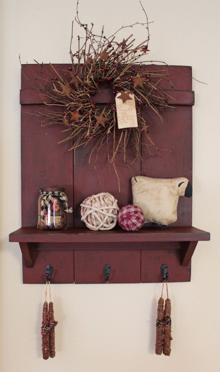 24 Primitive Wall Art, Farmhouse Country Chic Wood Star Wall Box With Country Wall Art (Gallery 14 of 20)