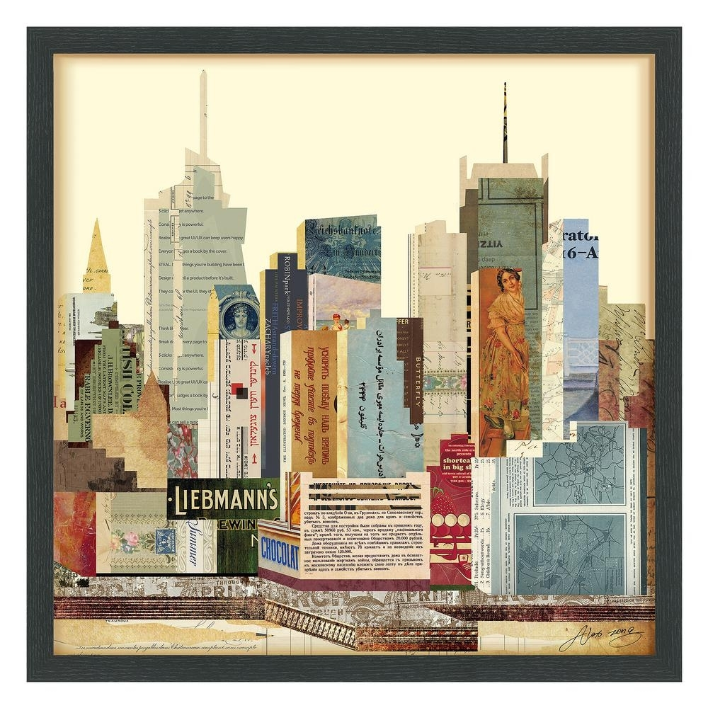 """25 In. X 25 In. """"new York City Skyline"""" Dimensional Collage Framed With New York Wall Art (Gallery 18 of 20)"""