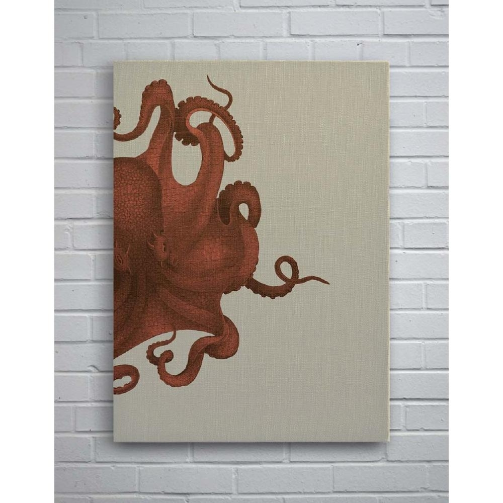 29 In. X 40 In. Octopus Study Coral Small Splash Works Frameless Intended For Octopus Wall Art (Gallery 12 of 20)