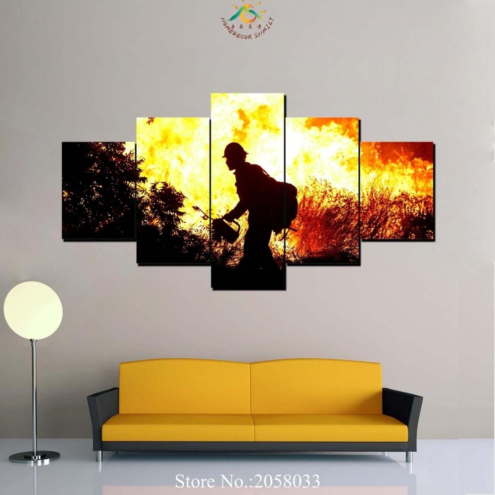 3 4 5 Pieces Firefighter Modern Wall Art Canvas Printed Painting Hd In Firefighter Wall Art (Photo 16 of 20)