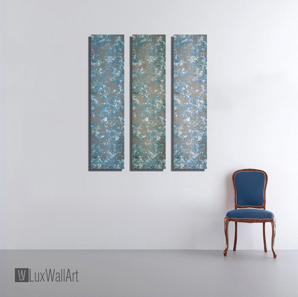 3 Blue Large Vertical Thin Panel Metal Abstract Wall Art Within Vertical Metal Wall Art (Photo 15 of 20)