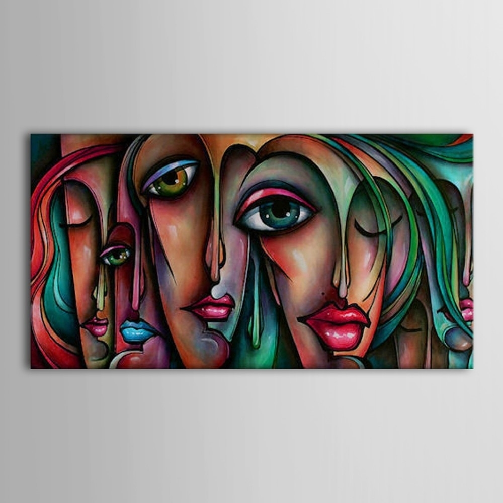 3 Color Girl Face Big Eyes Hand Painted Oil Painting Canvas Abstract in Abstract Oil Painting Wall Art (Image 6 of 20)