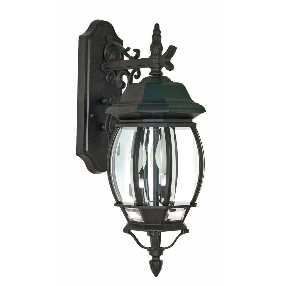 3 Light Outdoor Black Wall Lantern Incandescent Lamp Weather With Outdoor Weather Resistant Lanterns (Photo 6 of 20)
