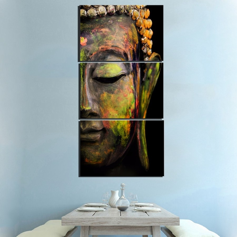 3 Panel Buddha Abstract Wall Art   Buddha Zing For Abstract Wall Art (Photo 12 of 20)