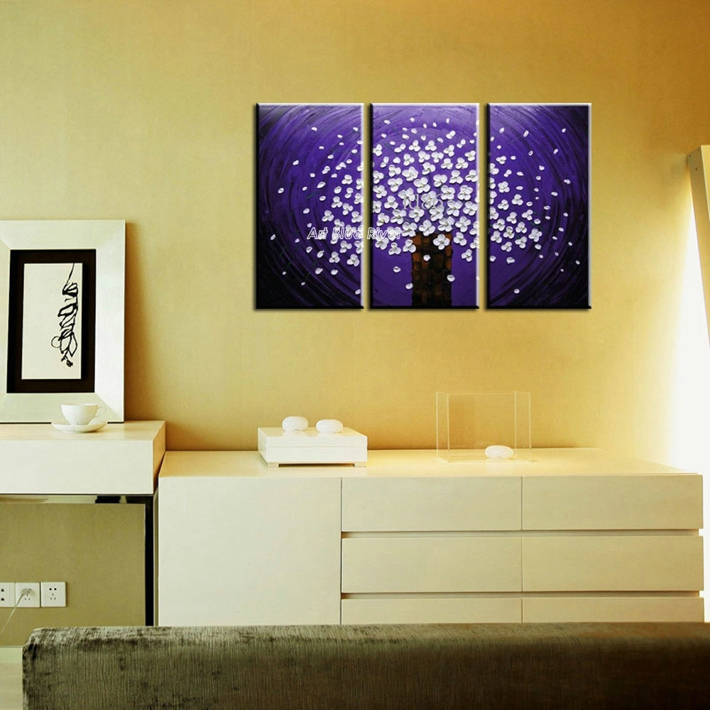 3 Panel Canvas Art Triptych Paintings Purple Flower Abstract Modern In Modern Canvas Wall Art (Photo 3 of 20)