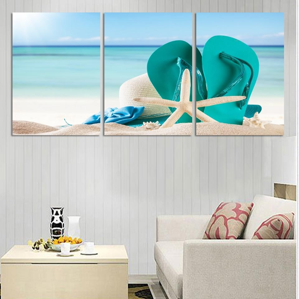 3 Panel Large Beach Canvas Seascapes Shoses And Star Paintings Wall Inside Beach Wall Art (Photo 5 of 20)