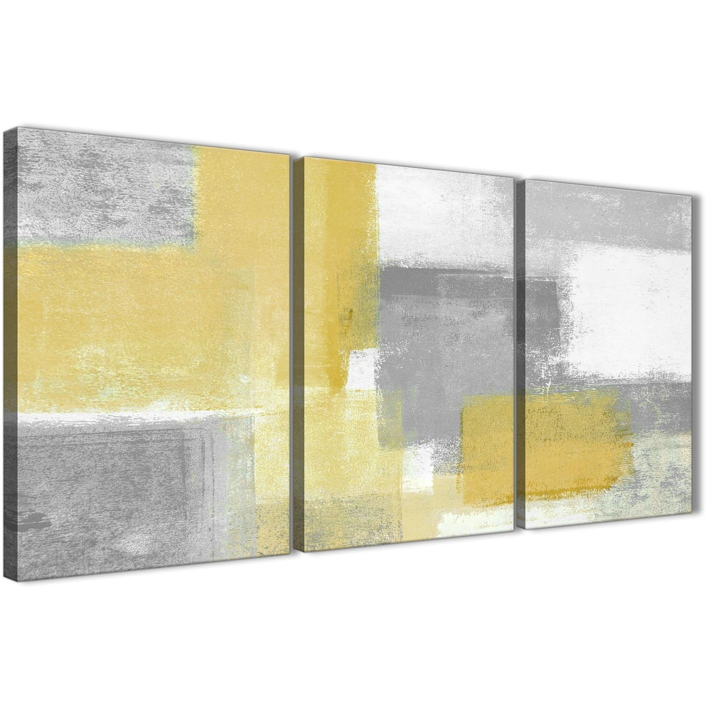 3 Panel Mustard Yellow Grey Kitchen Canvas Wall Art Decor - Abstract pertaining to Canvas Wall Art (Image 3 of 20)
