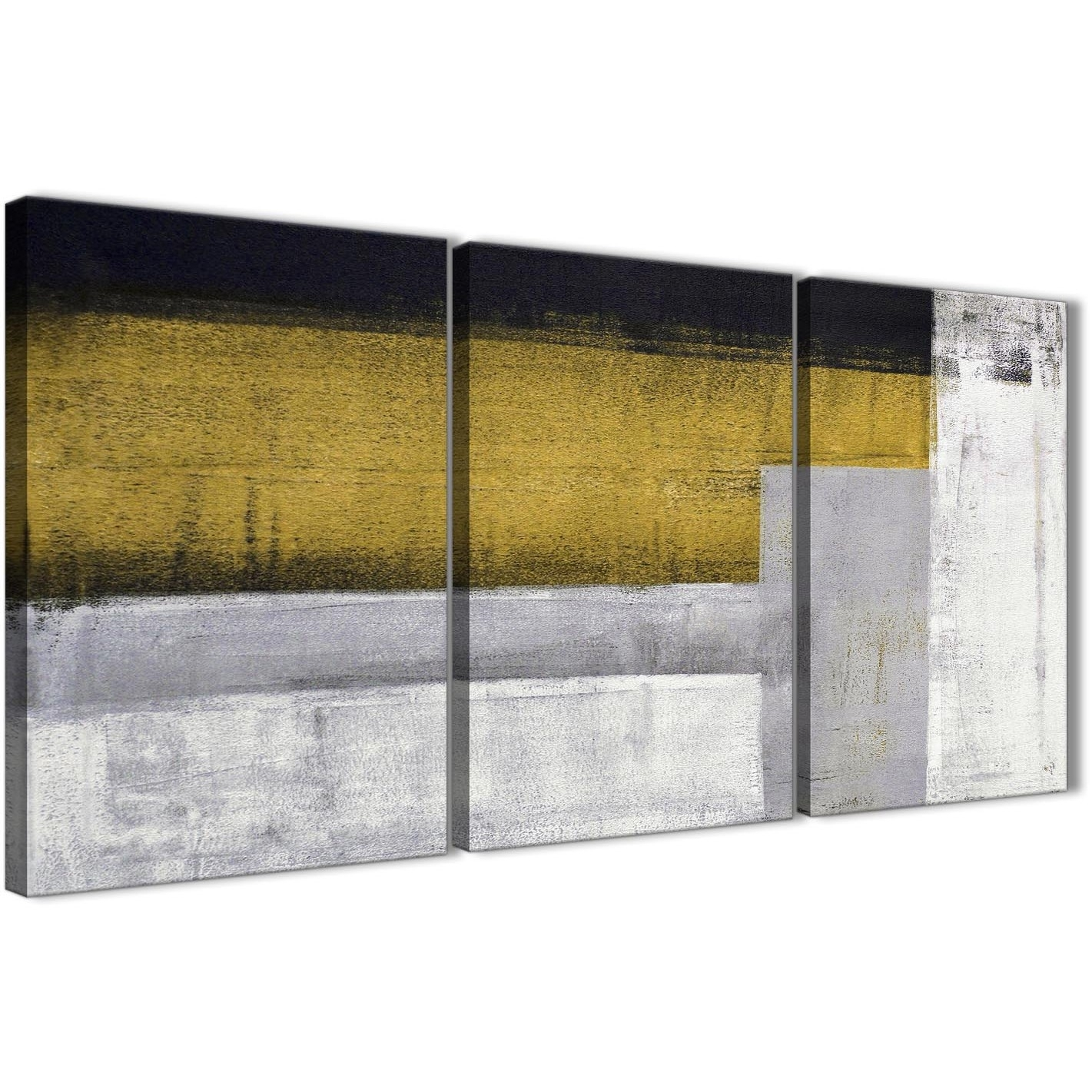 3 Panel Mustard Yellow Grey Painting Kitchen Canvas Wall Art with regard to 3 Piece Canvas Wall Art (Image 5 of 20)