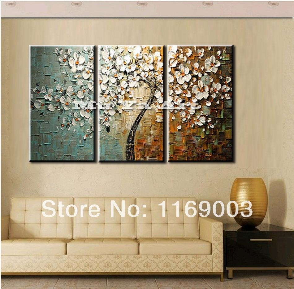 3 Panel Wall Art Canvas Tree Acrylic Decorative Pictures Hand In 3 Piece Wall Art (View 4 of 20)