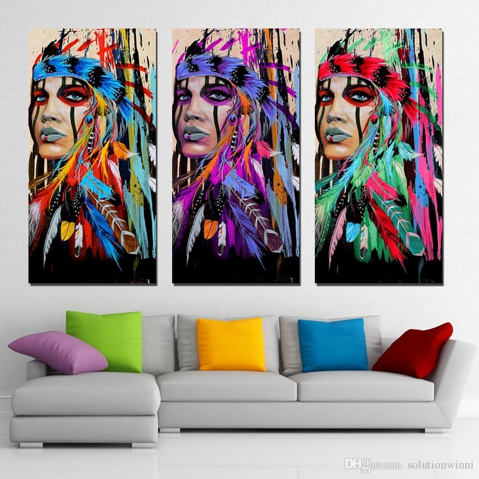3 Panels Canvas Art Native American Indian Feather Home Decor Wall With Native American Wall Art (Photo 3 of 20)