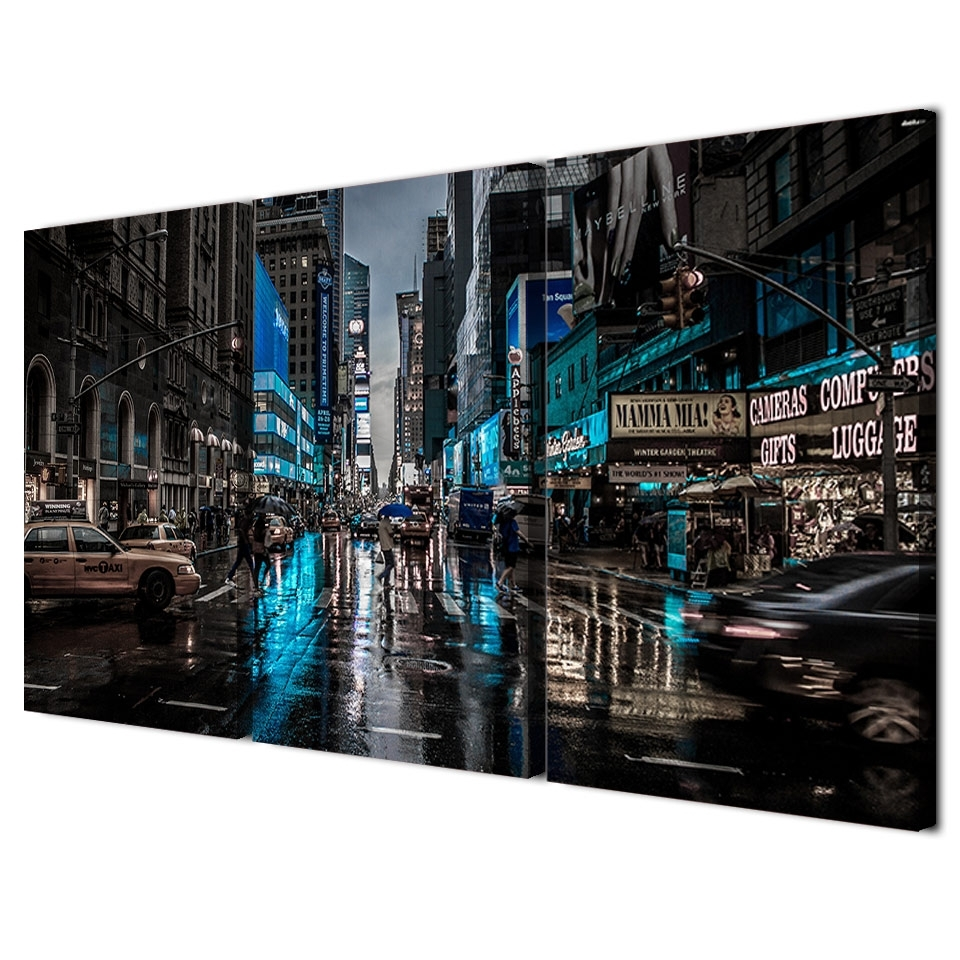 3 Panels Canvas Art New York City Night Home Decoration Wall Art Regarding Nyc Wall Art (Photo 20 of 20)