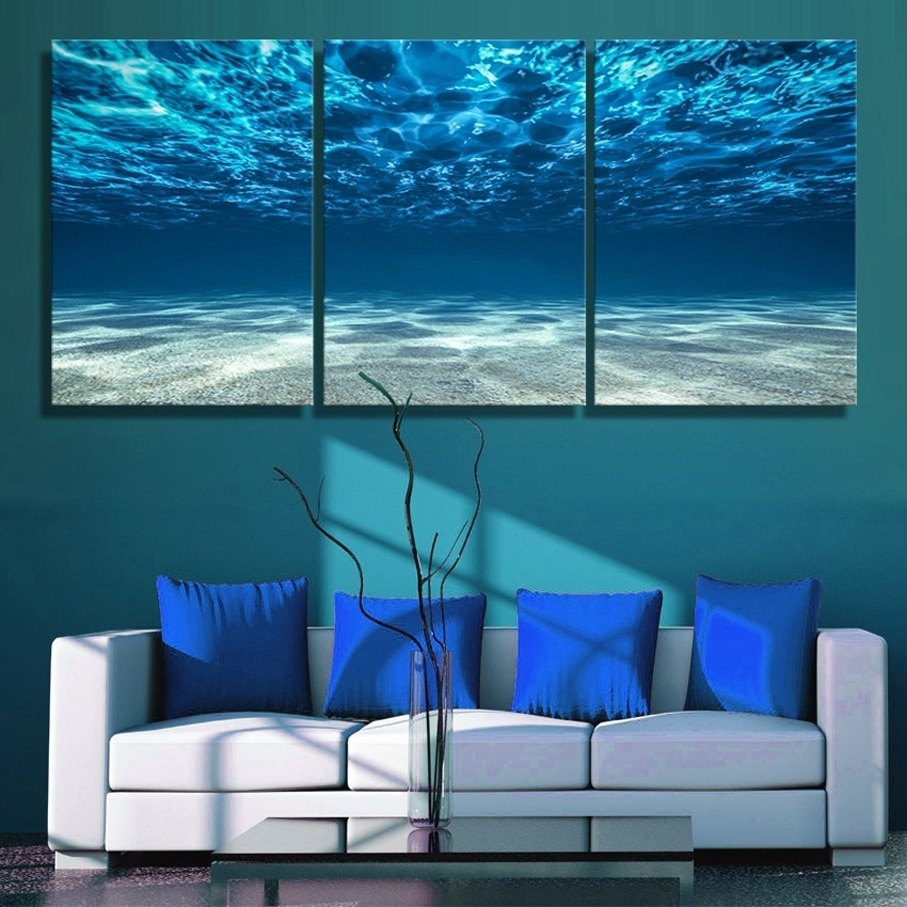 3 Panels Canvas Paiting Print Blue Ocean Wall Art Picture Seaview intended for Ocean Wall Art (Image 1 of 20)