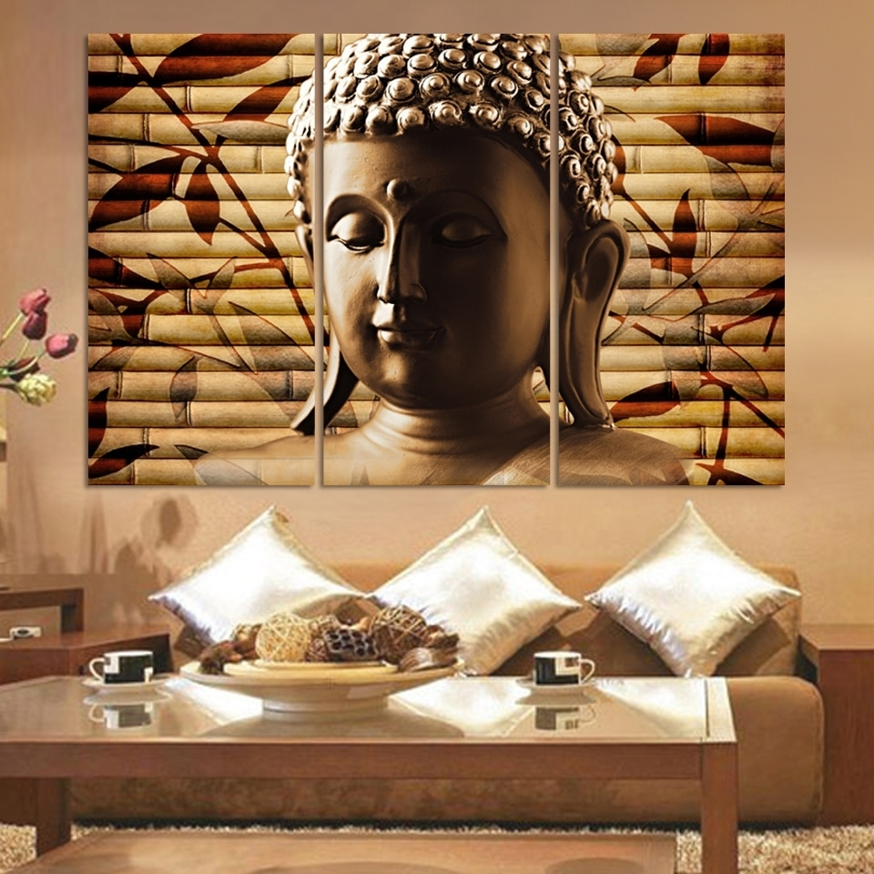 3 Pcs Buddha Painting Solemn Buddhism Wall Canvas Art Asian Religion Intended For Asian Wall Art (Photo 7 of 20)