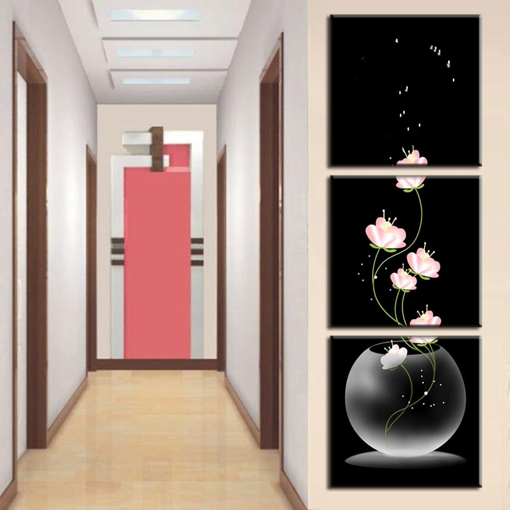 3 Pcs/set Abstract Art Modern Wall Paintings Flowers Porch Vertical Intended For Vertical Wall Art (Photo 5 of 20)