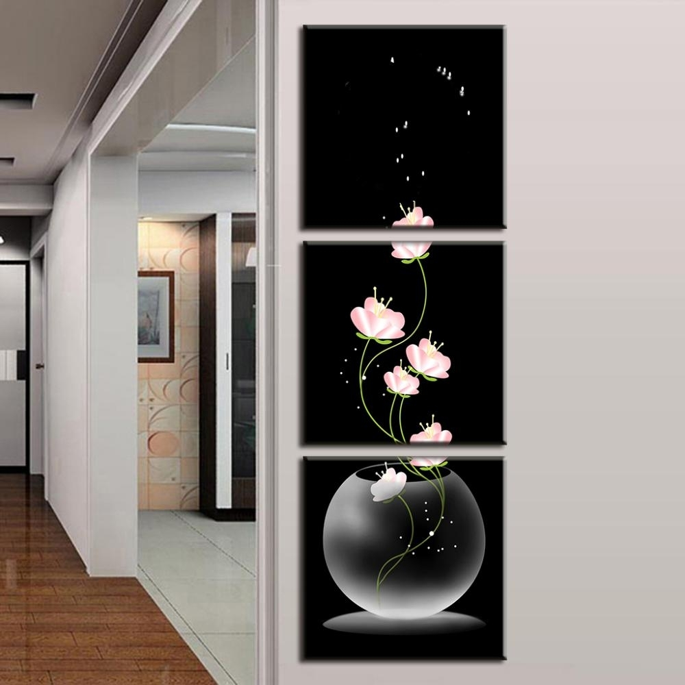3 Pcs/set Abstract Art Modern Wall Paintings Flowers Porch Vertical Within Vertical Wall Art (Photo 9 of 20)