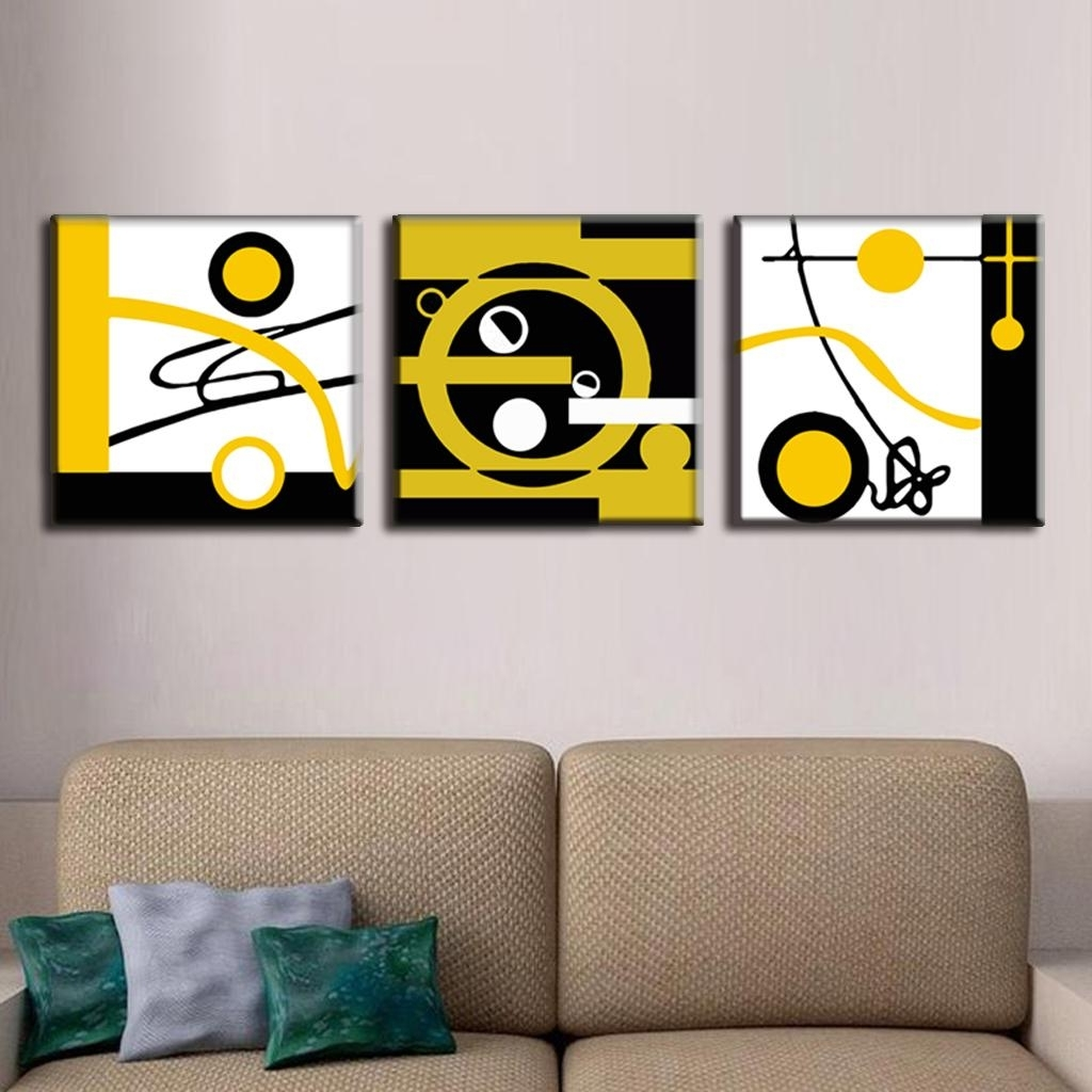3 Pcs/set Abstract Canvas Wall Art Blocks Of Color And Circle Canvas With Circle Wall Art (View 1 of 20)