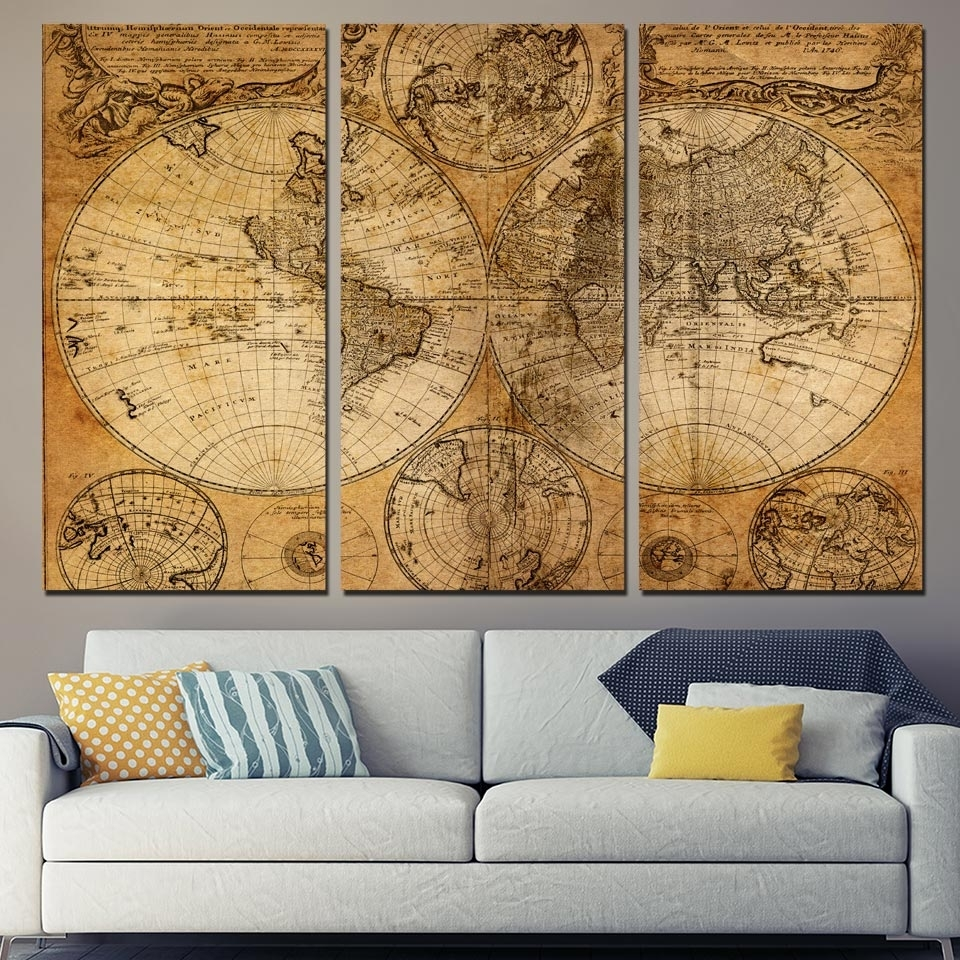 3 Pcs/set Framed Hd Printed Retro Old World Map Picture Wall Art throughout Old World Map Wall Art (Image 1 of 20)