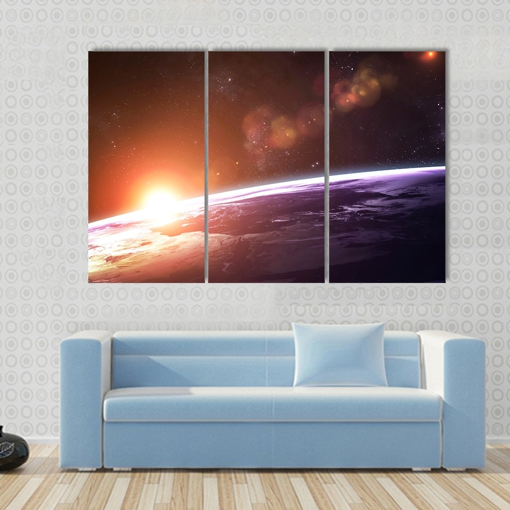 3 Pcs/set Large Framed Hd Earth Light Canvas Print Painting Modern Inside Large Framed Canvas Wall Art (Photo 19 of 20)
