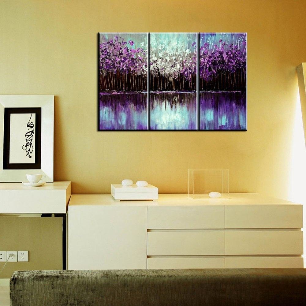 3 Piece Abstract Canvas Art Painting Triptych Home Goods Wall Art Pertaining To Home Goods Wall Art (Photo 15 of 20)