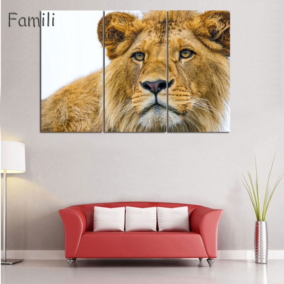 3 Piece Animals Lion Canvas Painting Modern Hanging Art Lion King Pertaining To Lion King Wall Art (Photo 16 of 20)