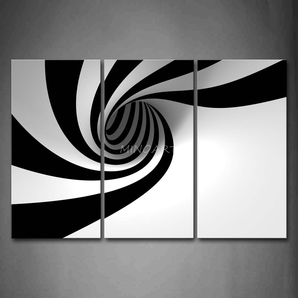 3 Piece Black And White Wall Art Painting Grey Black White, Black for Black And White Canvas Wall Art (Image 2 of 20)