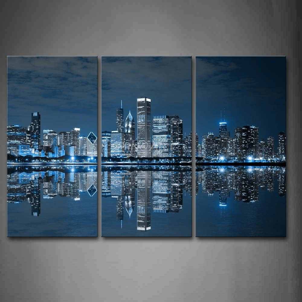 3 Piece Blue Wall Art Painting Cool Buildings In Dark Color In With Blue Wall Art (Photo 1 of 20)