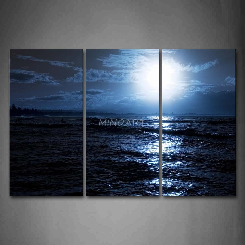 3 Piece Blue Wall Art Painting Ocean At Night Bright Moon Picture with Ocean Wall Art (Image 2 of 20)