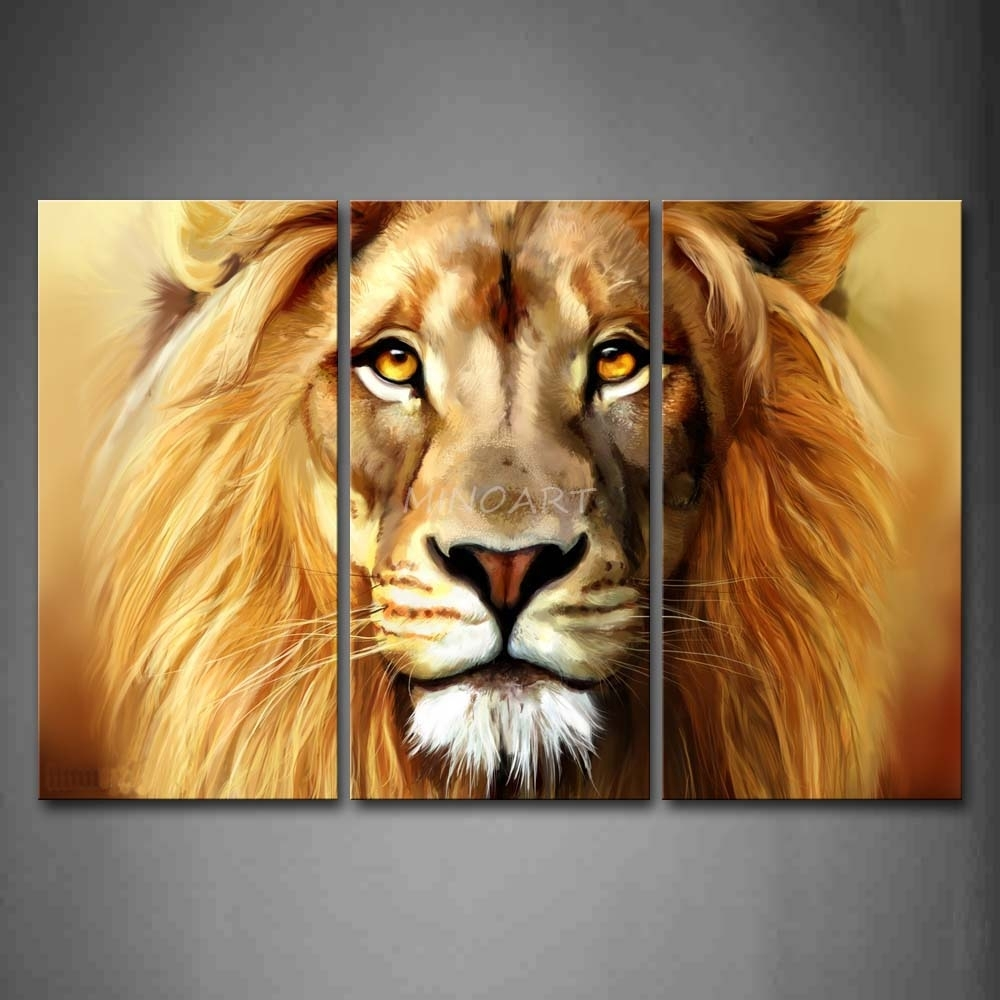 3 Piece Brown Wall Art Painting Lion Head Portrait Print On Canvas Pertaining To Lion Wall Art (Photo 6 of 20)