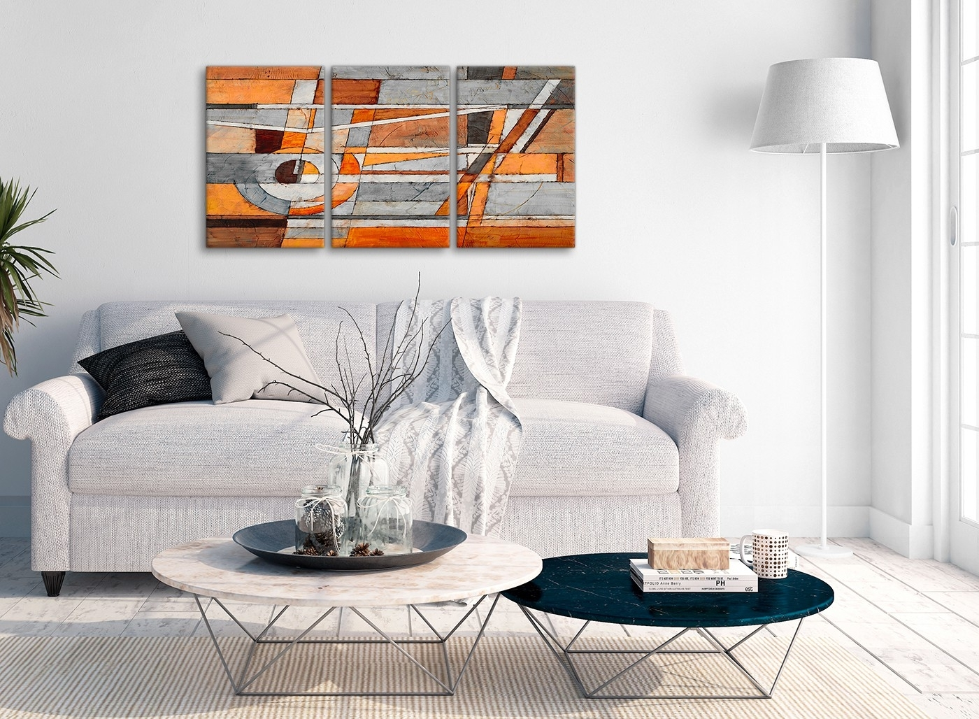 3 Piece Burnt Orange Grey Painting Office Canvas Wall Art Decor Within Gray Canvas Wall Art (Photo 18 of 20)