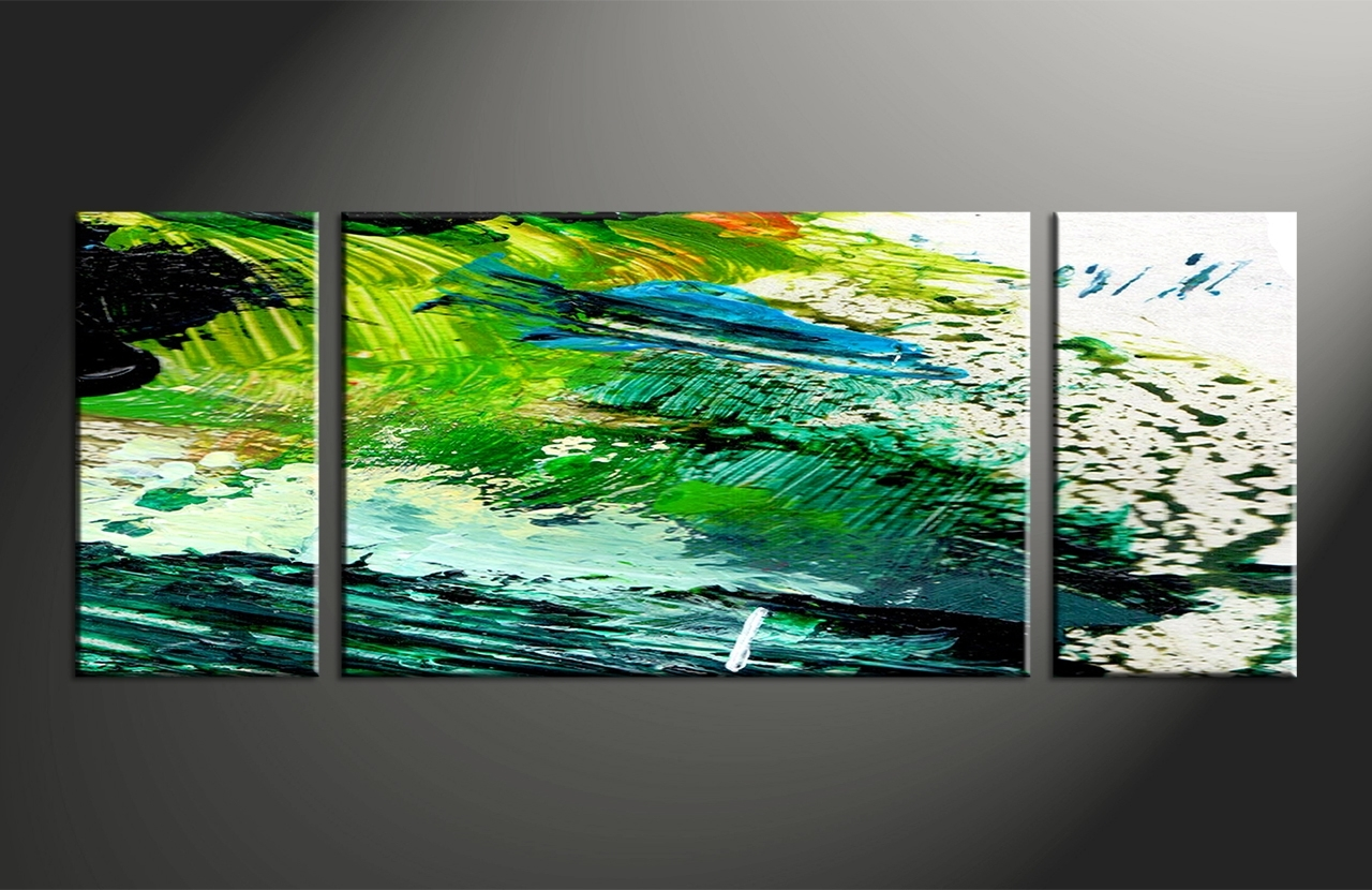 3 Piece Canvas Green Abstract Oil Paintings Wall Art, 3 Piece Canvas for Abstract Oil Painting Wall Art (Image 7 of 20)