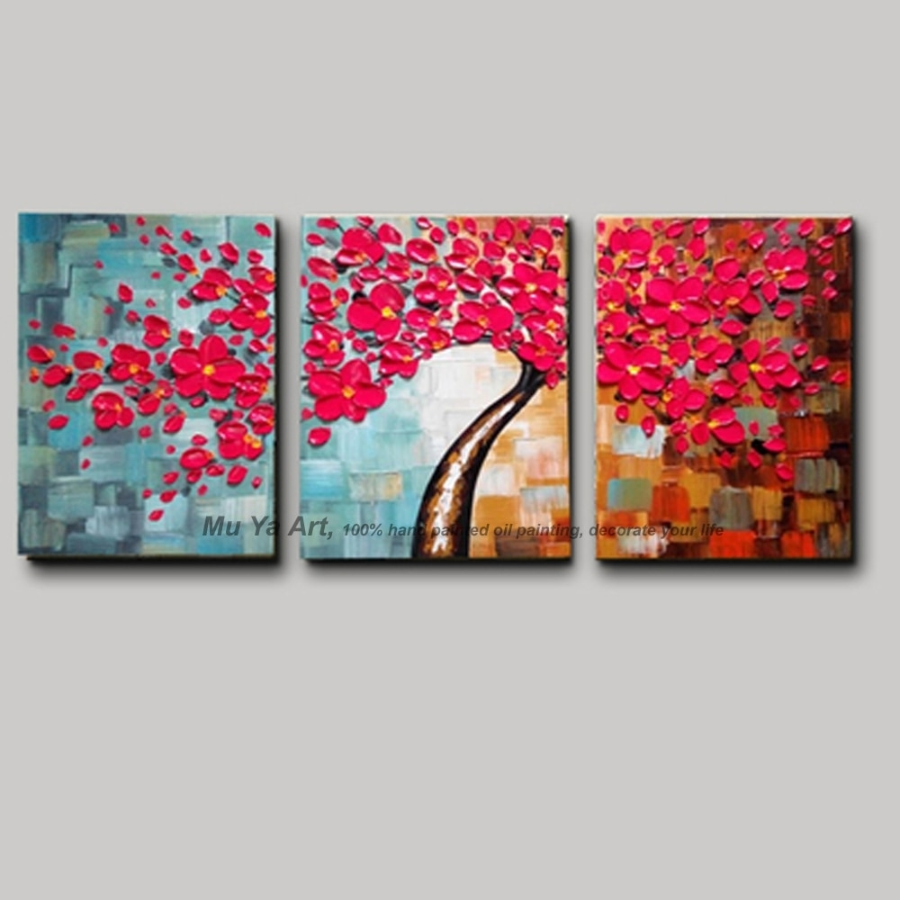 3 Piece Canvas Wall Art With Red Wall Picture Modern Flower Colorful Within Red Wall Art (Photo 19 of 20)