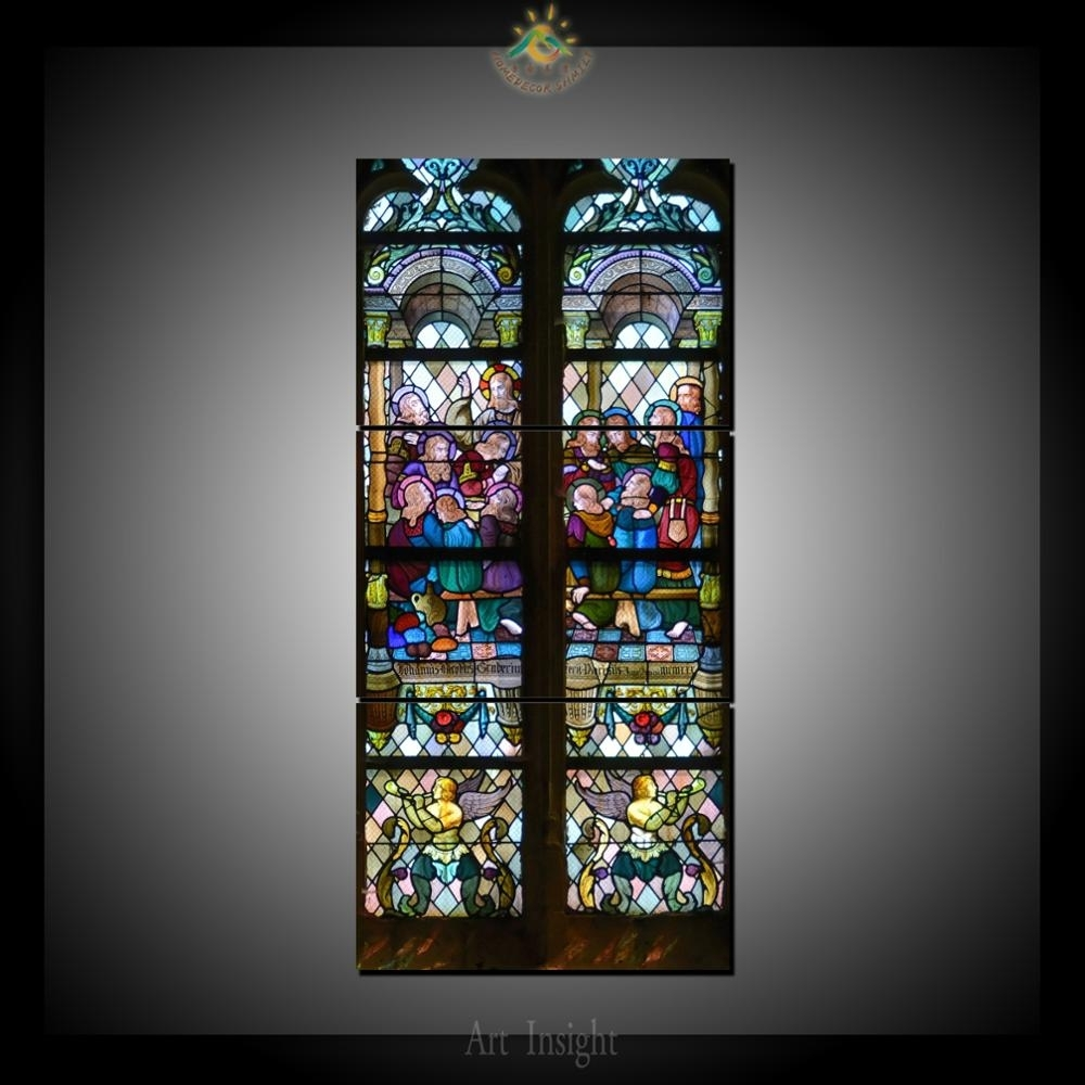3 Piece Christian Stained Glass Style 2 Wall Art For Home Decoration In Stained Glass Wall Art (Photo 13 of 20)