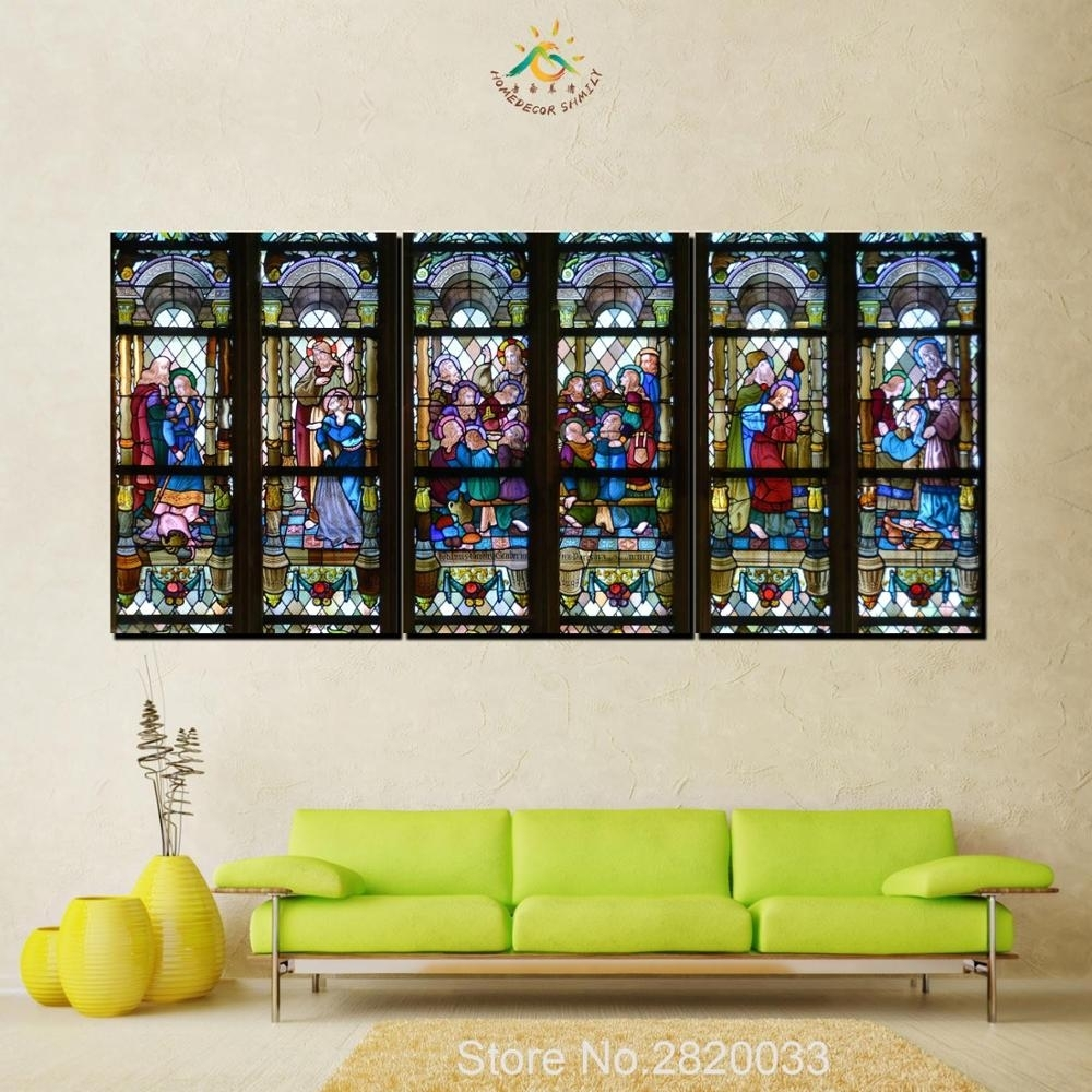 3 Piece Christian Stained Glass Style Flower Glass Canvas Wall Art Intended For Stained Glass Wall Art (Photo 6 of 20)