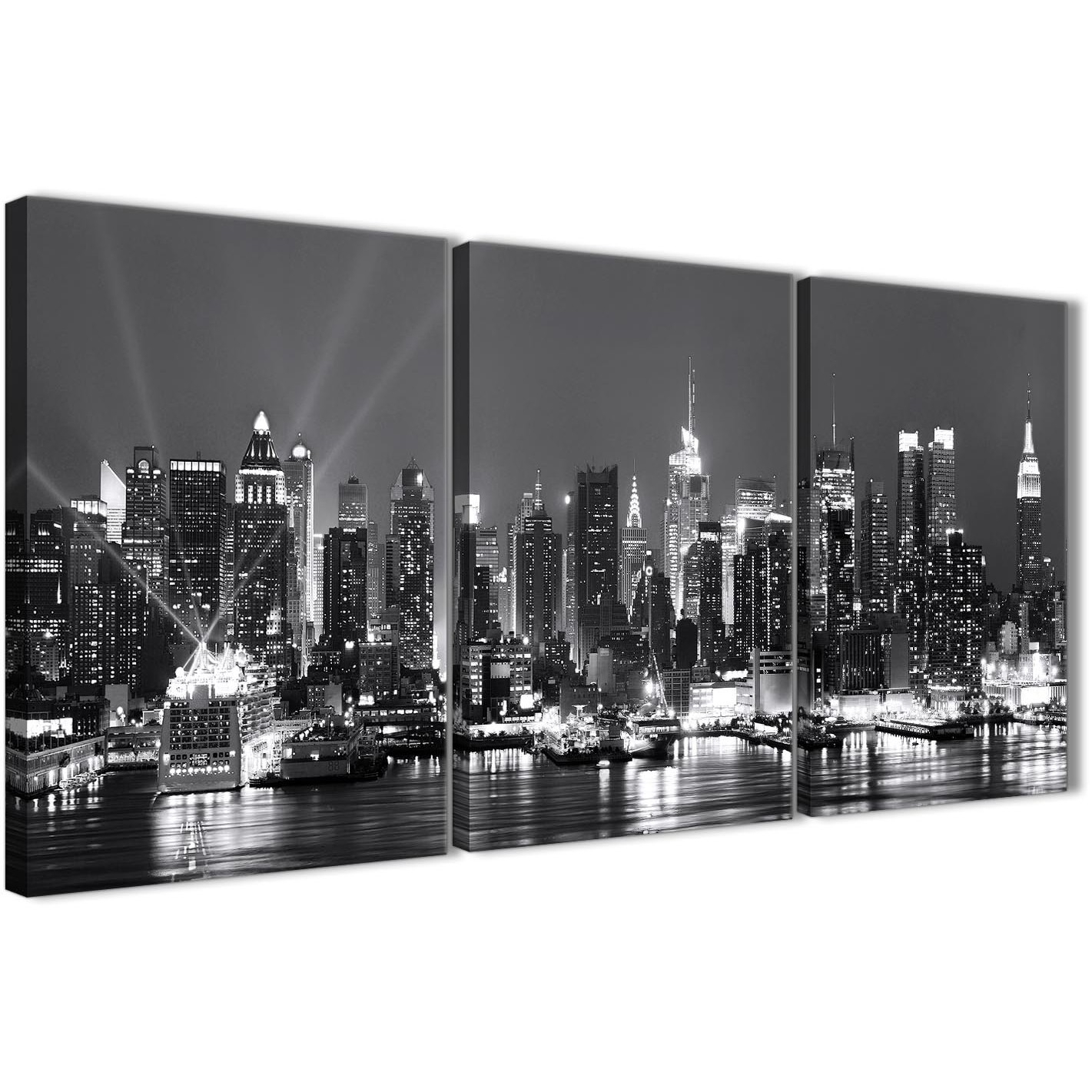 3 Piece Landscape Canvas Wall Art New York Hudson River Skyline With New York Canvas Wall Art (View 15 of 20)