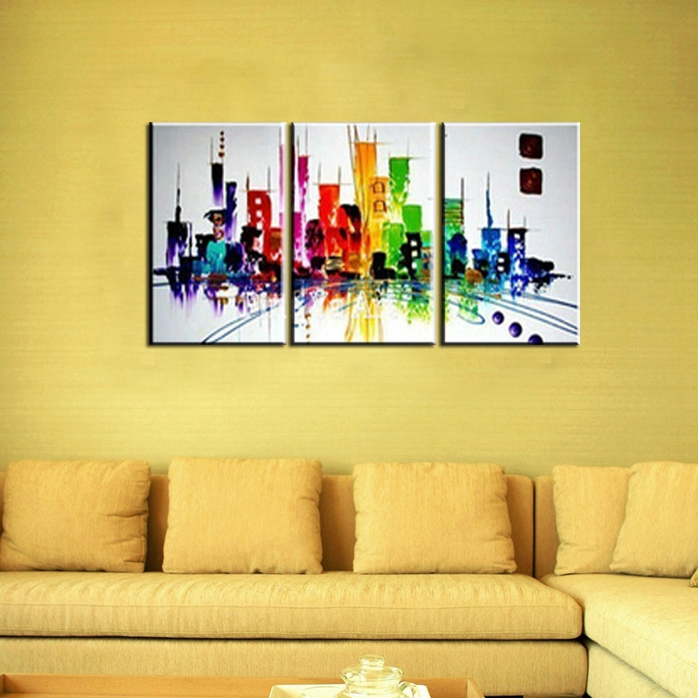 3 Piece Modern Canvas Wall Art Triptych Muti Abstract City Handmade intended for Modern Canvas Wall Art (Image 5 of 20)