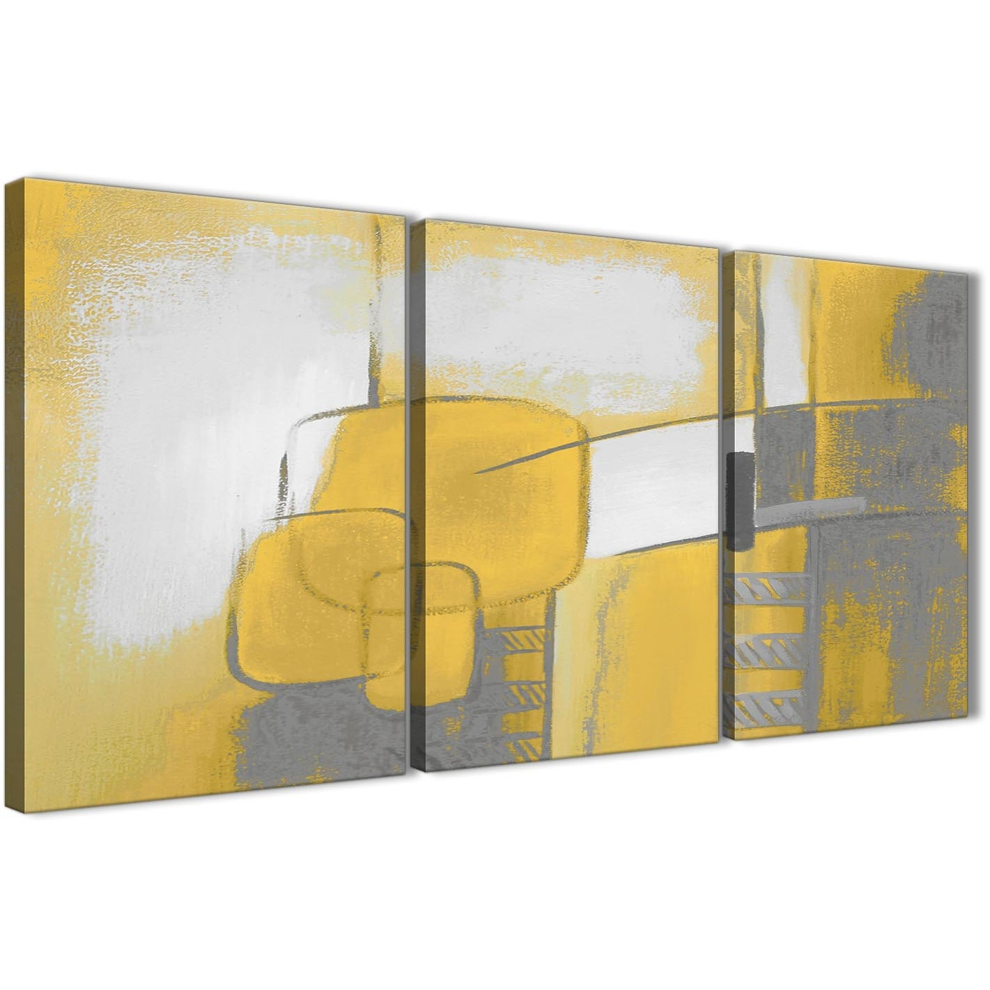 3 Piece Mustard Yellow Grey Painting Kitchen Canvas Pictures Decor Throughout Kitchen Canvas Wall Art Decors (View 13 of 20)