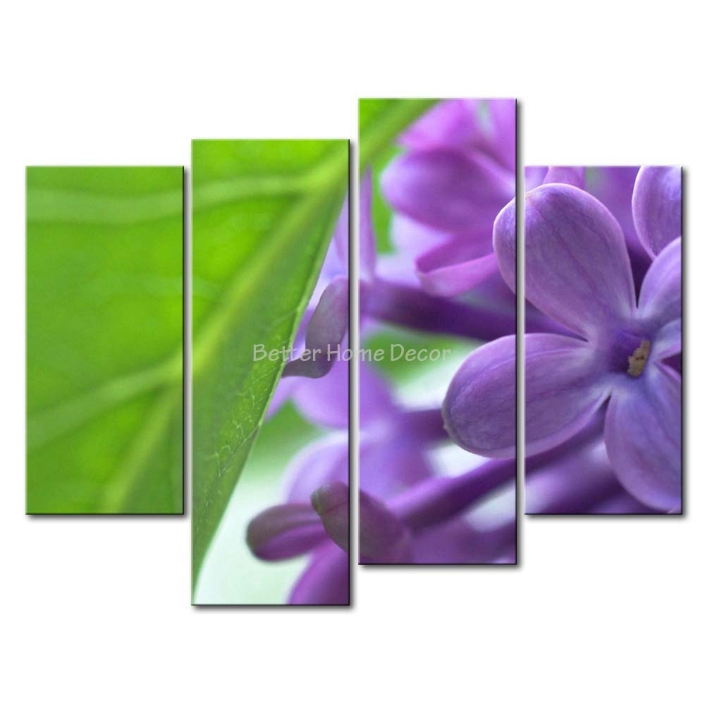 3 Piece Purple Wall Art Painting Lilac With Green Leaf Print On Regarding Purple Wall Art Canvas (Photo 15 of 20)